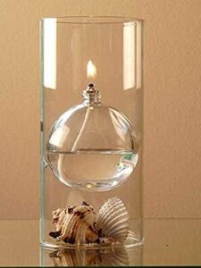 oil burning lamp with glass shade