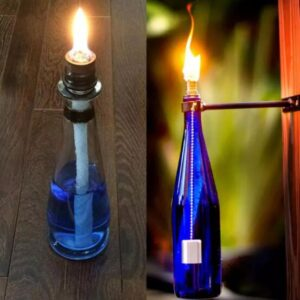 wine bottle tiki torch holder