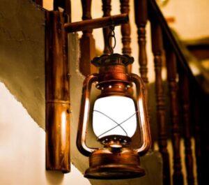 hanging kerosene lamp