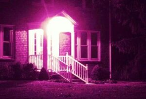 pink light on porch
