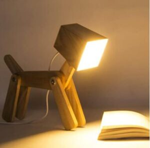 wood dimmable nightstand lamp for kids