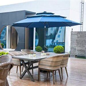 blue patio umbrella with solar lights