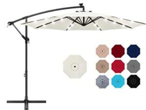 offset patio umbrella with solar lights