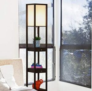bright floor lamp with shelf and drawer for narrow and dark bedroom
