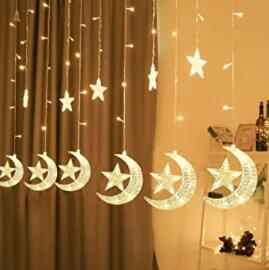 half moon and star curtain lights