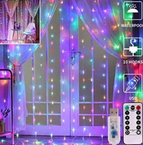 christmas window curtain lights