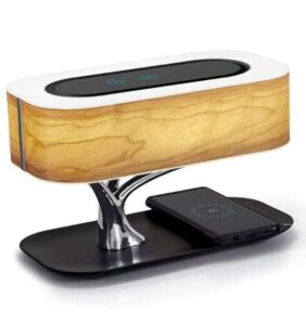 desk lamp with charging station and clock and bluetooth speaker