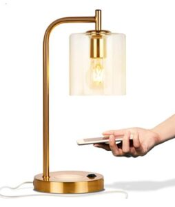 industrial glass table lamp with wireless charger and usb port